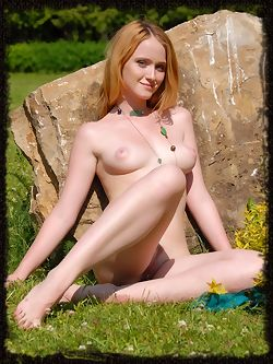 Alexa is a new model with red hair ,medium breasts with big happy nipples that point up, and she has tender skin.