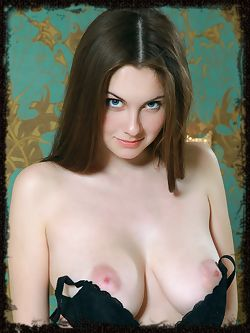 Marta E takes off her black printed cardigan and matching black lingerie to showcase her magnificent breasts with puffy nipples and ripe pussy.