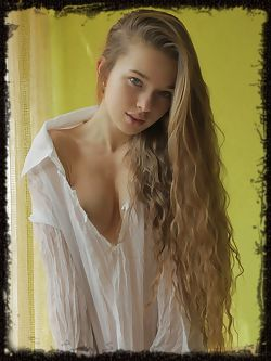 Milena D flips her long, beautiful hair to the side and exposes her amazing breasts.